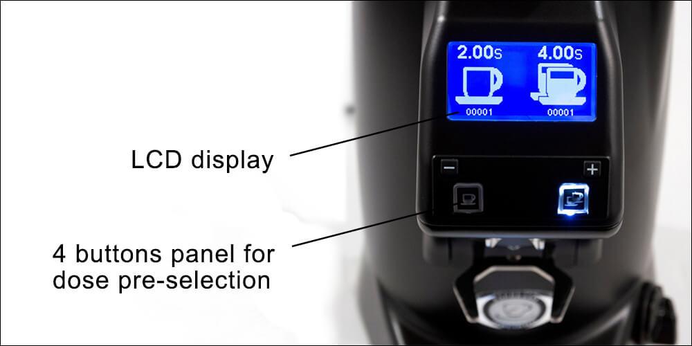 Eureka Zenith 65 Commercial Coffee Grinder Banner Display Features