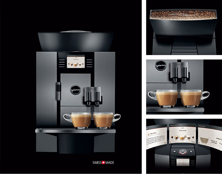 Jura Giga X3c Commercial Bean to Cup Coffee Machine Front Dispensor Bean Hopper and Display
