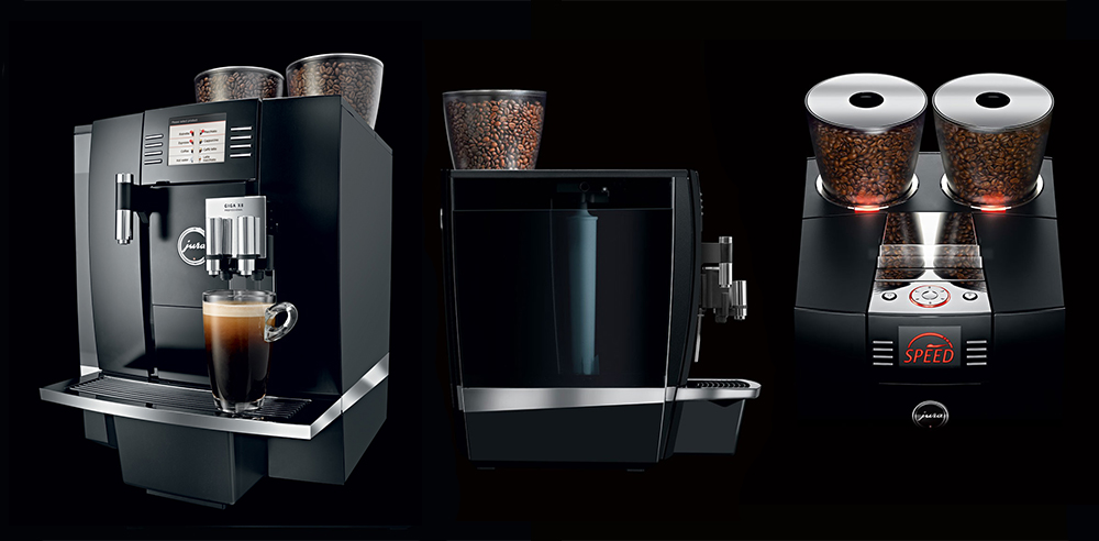 Jura Giga X8c Commercial Bean to Cup Coffee Machine Front Side Top Bean Hoppers
