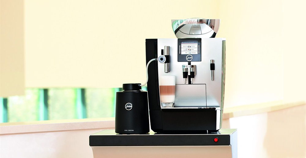Jura XJ9 Commercial Bean to Cup Coffee Machine Front in Office