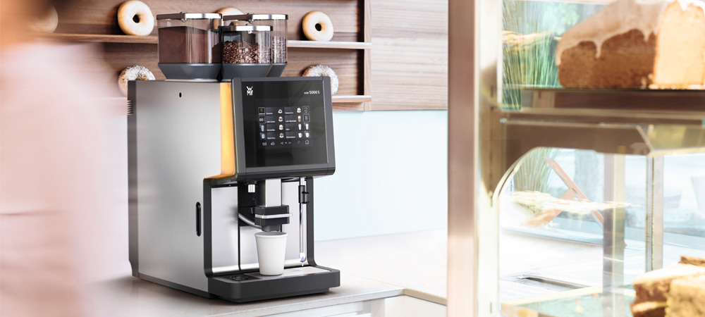 WMF 5000S Commercial Bean to Cup Coffee Machine in a Cafe
