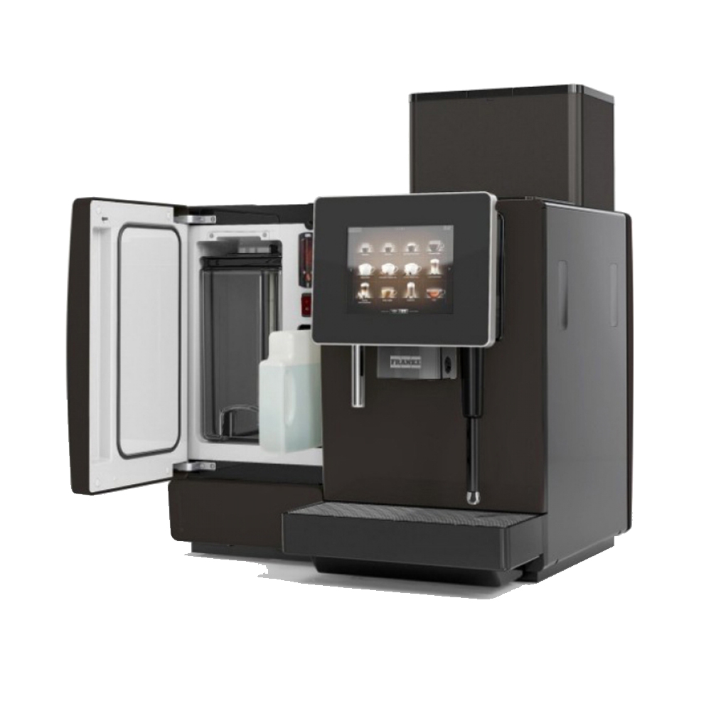 franke a600 commercial bean to cup coffee machine open milk fridge