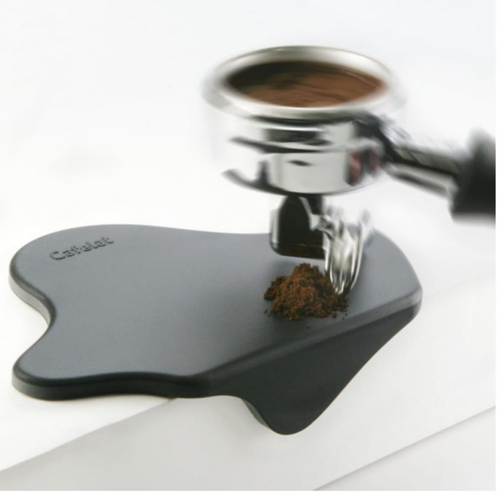Black Cafelat Splat Tamping Mat Group Head With Coffee
