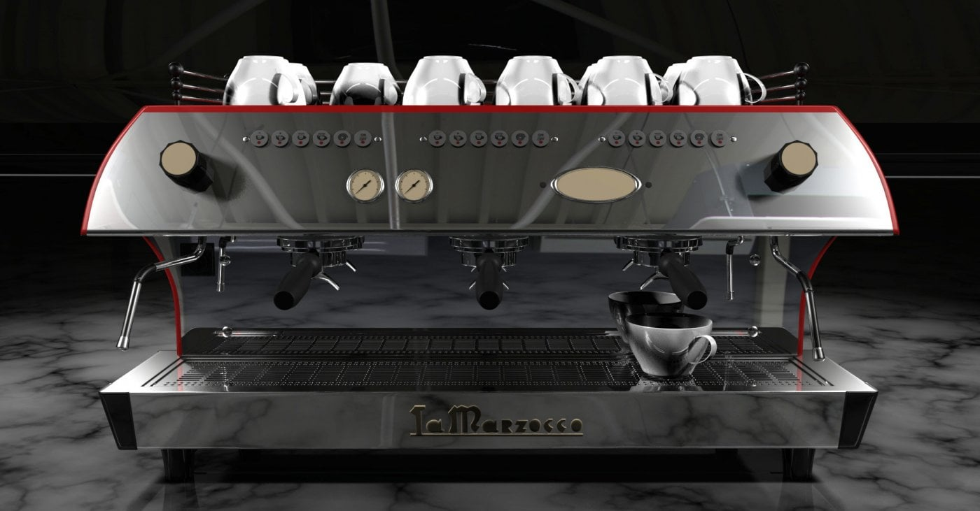 La Marzocco FB80 Traditional Commercial Coffee Machine 3 Group Front Graphic