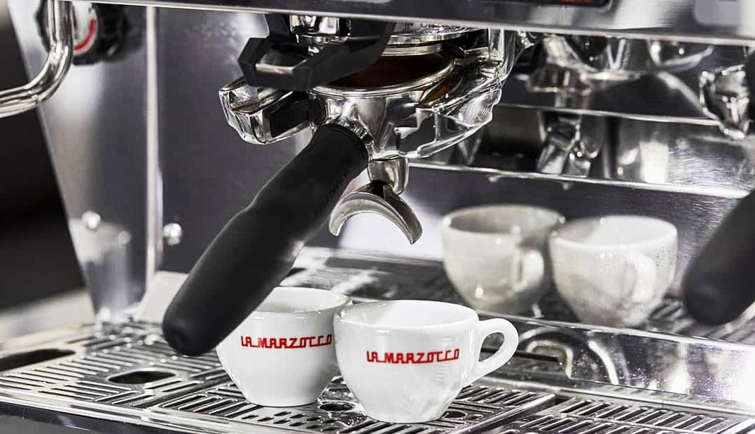 La Marzocco KB90 Professional Traditional Espresso Machine Group Head and Mugs