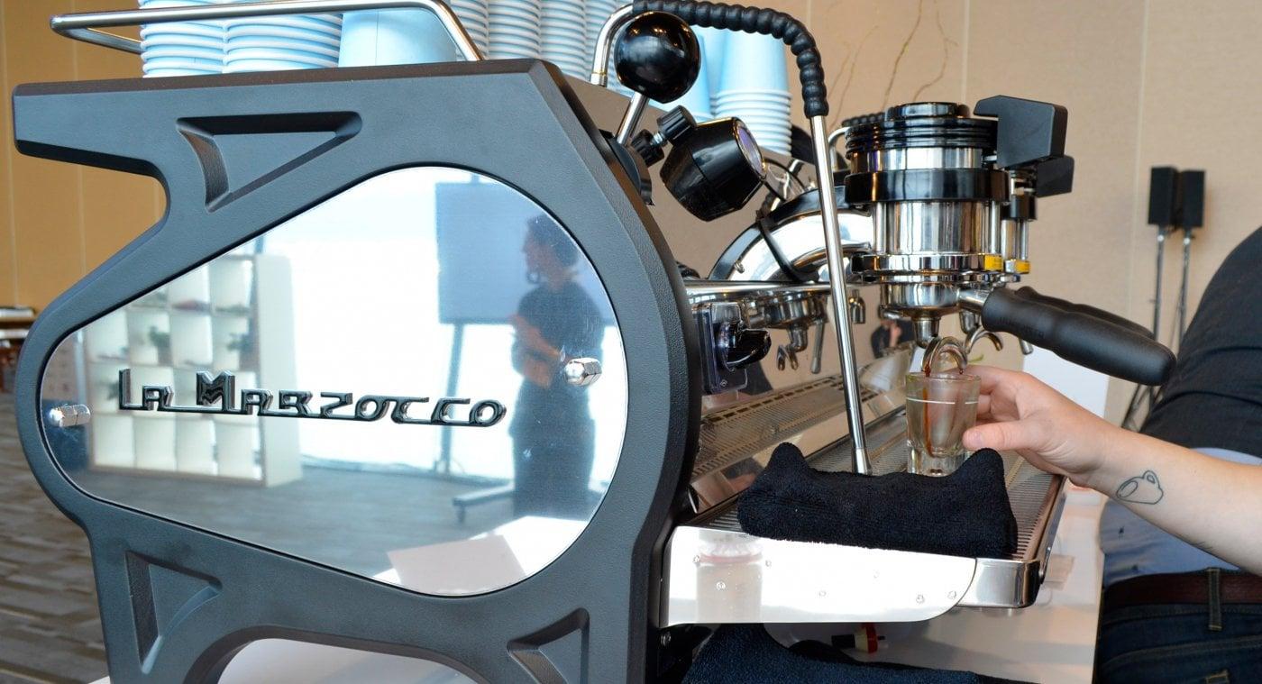 La Marzocco Strada EE Traditional Espresso Machine 2 Group Side Coffee Shop