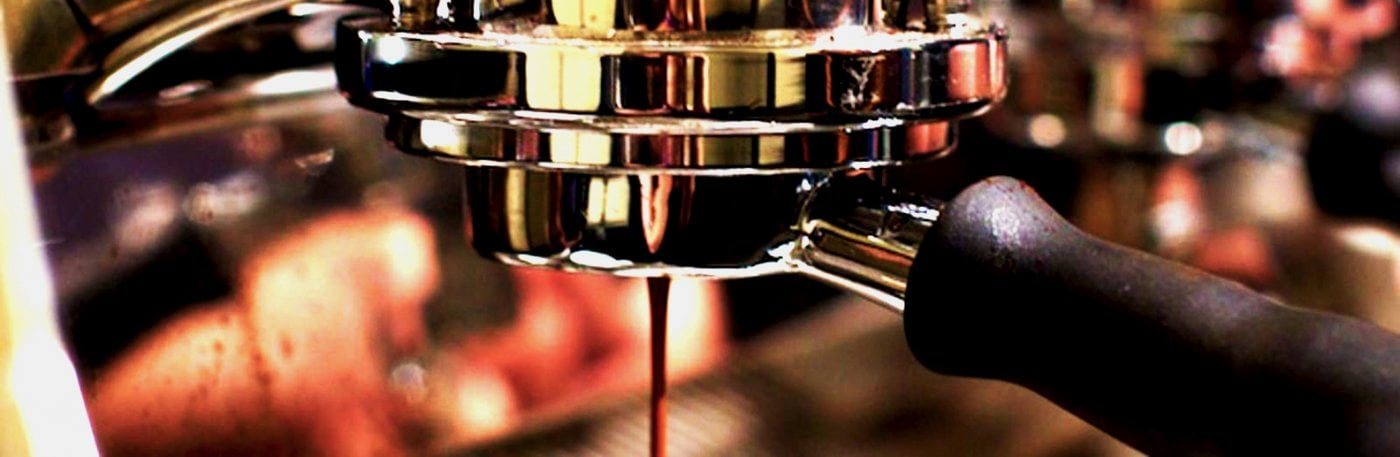 La Marzocco Strada EP Commercial Traditional Espresso Machine Group Pouring Coffee