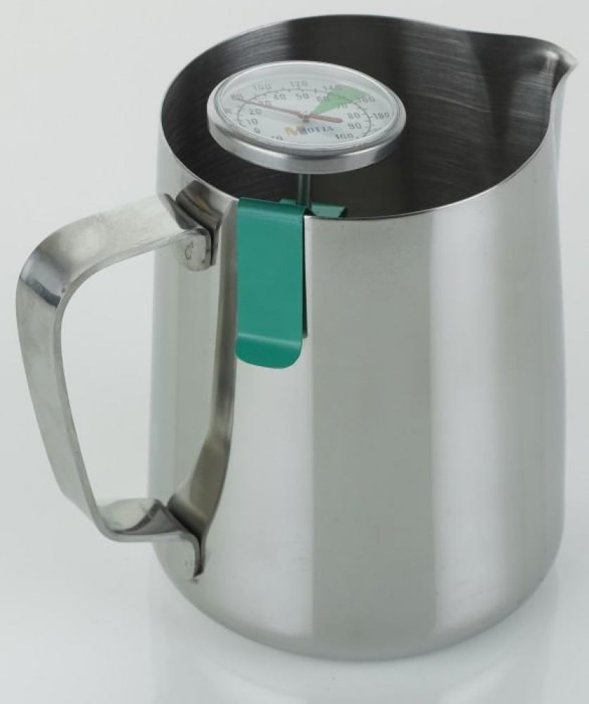 Milk Frothing Jug Professional Thermometer Clip Green