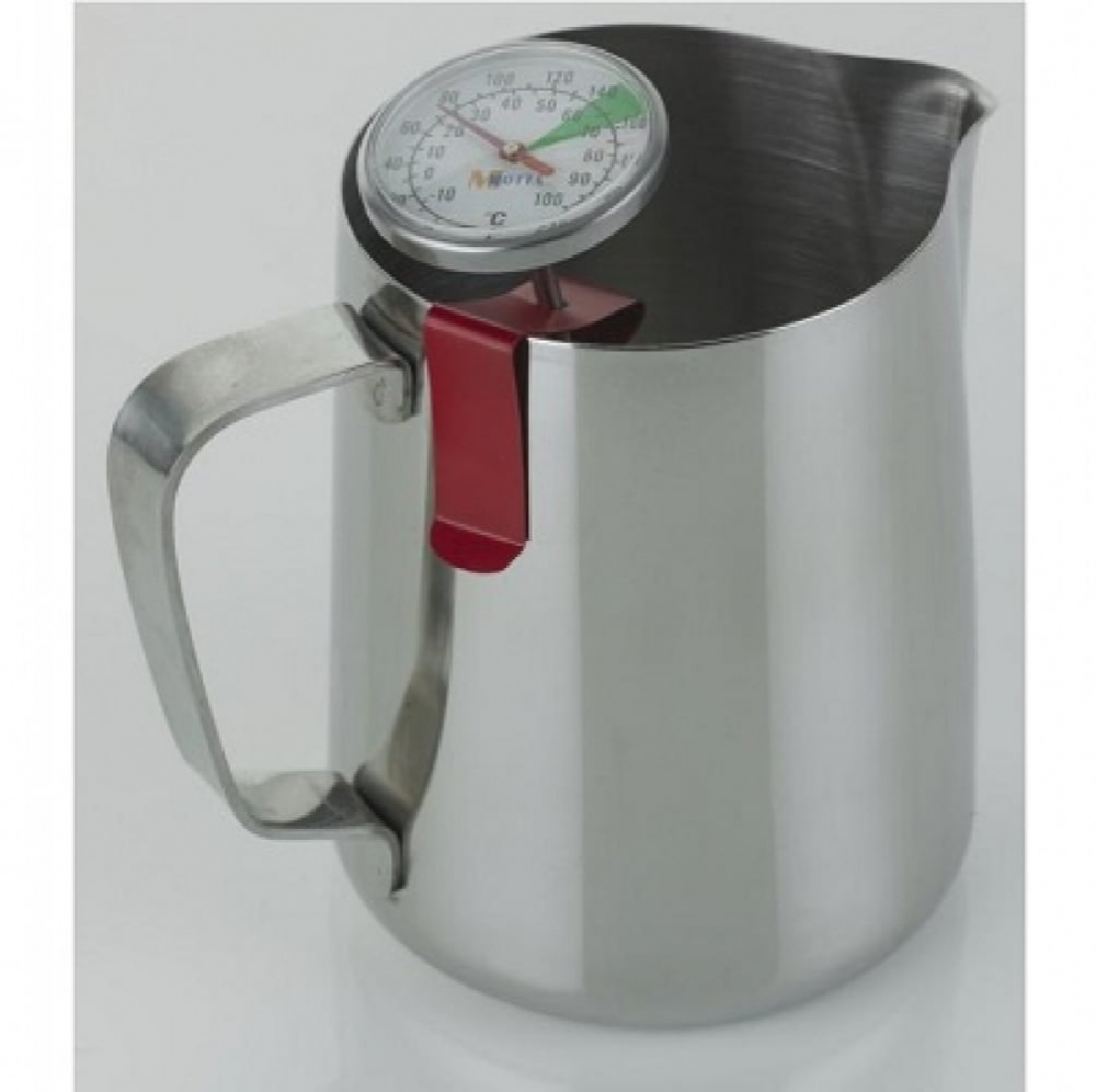 Milk Frothing Jug Professional Thermometer Clip Red